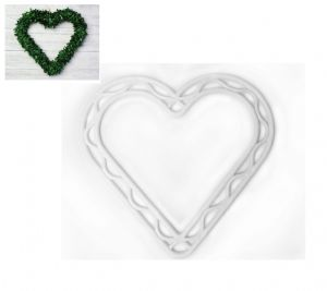 "Flat 8.5"" Plastic White Heart Wreath Hanging Decoration Frame, Wedding, Floristry, Home Decor. S7817"